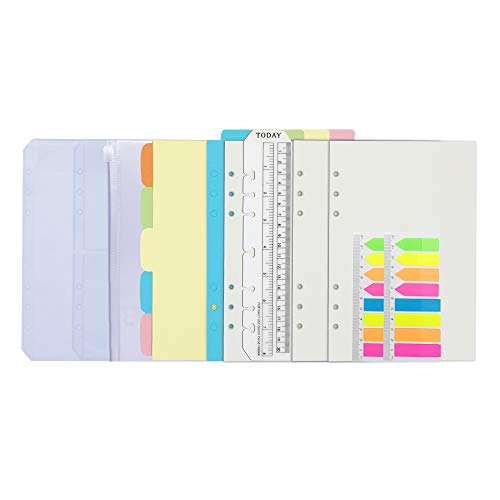 Chris.W 3Pack A5 Refills Paper Blank, 2Pack Neon Page Markers, 10Pcs Binder Dividers, 3Pcs Binder Pockets, 1Pcs Today Ruler -6 Holes Inserts Accessories for Refillable A5 6-Ring Notebook Planner