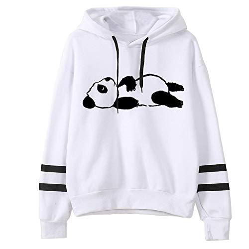 No brand dames grappige wekker sleepy panda druk met capuchon casual met capuchon lange mouwen pullover
