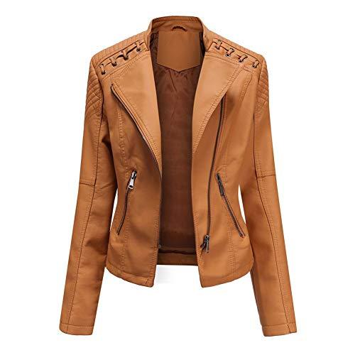 OJKYK Damen Kunstleder Jacke Motorradjacke Bikerjacke PU Asymmetrischer Reißverschluss Lederjacke Outwear Kurz Damenjacke,Camel,XL