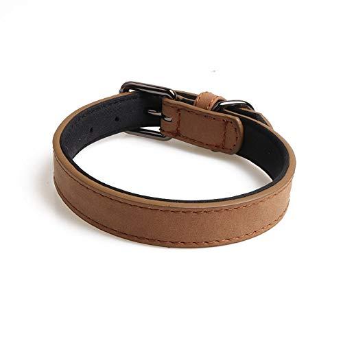 Halsband voor honden, PU-leer, dubbele koffie, beschermt hals voor honden, gentleman, zacht, voor alle seizoenen, zacht gevoerd, ademend, licht, aangenaam, 2.0*40CM