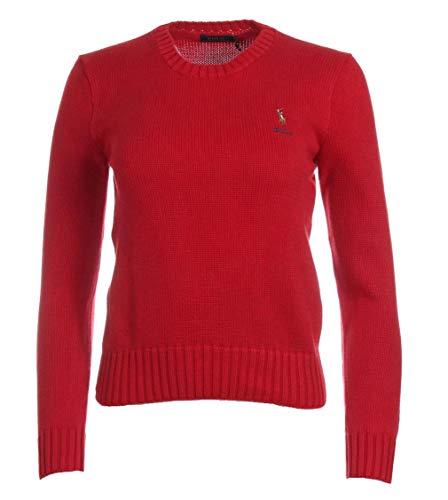 Ralph Lauren Felpa da donna con scollo rotondo, con logo colorato Colore: rosso S