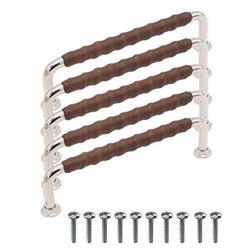 """Beslag Design - 5 tiradores para muebles """"1353"""" de cuero niquelado marrón - Distancia entre orificios 128 mm - Tirador para armario de cocina, tirador de piel, clásico y moderno, diseño escandinavo"""