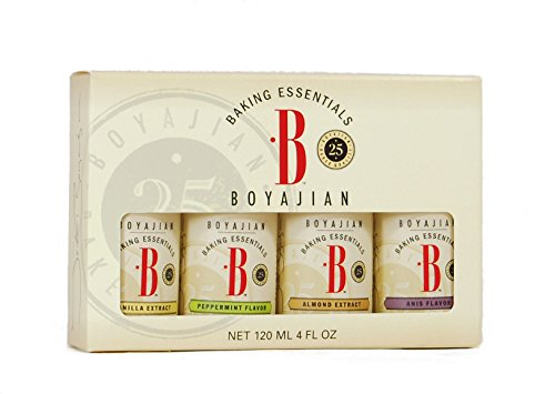 Boyajian Baker's Box - 1 oz. Baking Oils Set - Almond Extract, Anise Flavor, Peppermint Flavor, Vanilla Extract