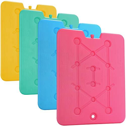 COM-FOUR® 4x extra plat koelpakket - ruimtebesparend en ideaal voor koelbox en koeltas - groot koelelement in verschillende kleuren [selectie varieert!] (04 stuks - groot)