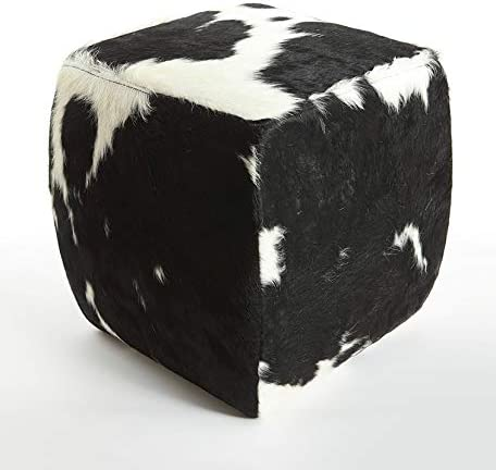 Gaucho Cowhides Black 67% OFF of fixed price Sales for sale White Cowhide - 18 inches Square Pouf