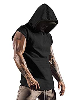 COOFANDY Men s Athletic Hooded Tank Tops Workout Hoodies Cut Off Quick Dry Tee