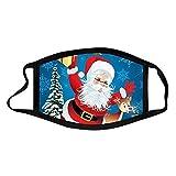 Pañuelo de Navidad reutilizable lavable lindo de alce con estampado de copo de nieve de media cara, elástico de la novedad y tejido de algodón cómodo