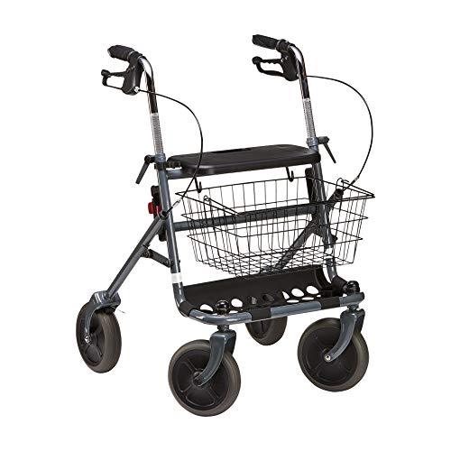 Dietz Rollator Fakto+, faltbar, belastbar bis 130 kg I mit Einkaufskorb, Tablett, Sitz, Stockhalte, geräuscharmen PU-Reifen I leichtgängige Feststellbremse, höhenverstellbare Schiebegriffe, anthrazit