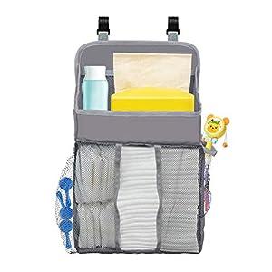 Hanging Baby Diaper Caddy Organizer For Crib Changing Table Or Wall Nursery Organizer For Infant Newborn Baby Playard Diaper Organizer Storage For Baby Essentials (Grey)