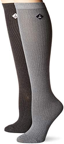 Sperry Top Sider Women s 2 Pack Soft Dreamy Knee Highs Socks gray marl assorted Shoe Size 5 product image
