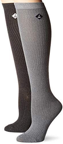 Sperry Top-Sider Women's 2 Pack Soft & Dreamy Knee Highs Socks, Gray Marl Assorted, Shoe Size: 5-10