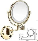 LED miroir de maquillage or double face Miroir grossissant Salle de bain télescopique Miroir mural pliant Miroir salle de bains Le cadre est serré et ne perd pas Simple et pratique (Color : Gold)