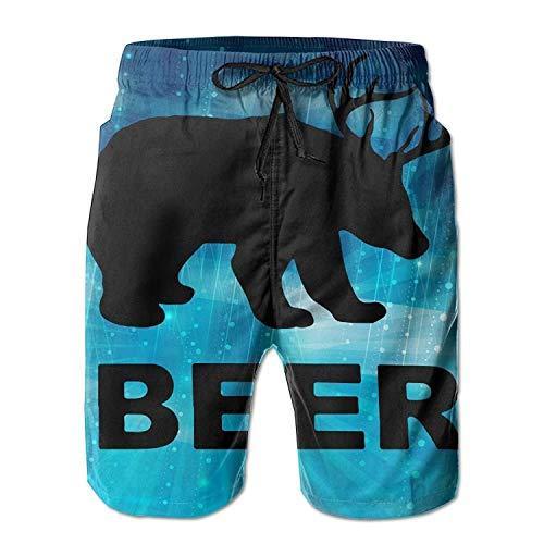 MrRui beer hert bier patroon mannen/jongens casual zwemmen Trunks korte elastische taille strand broek met zakken