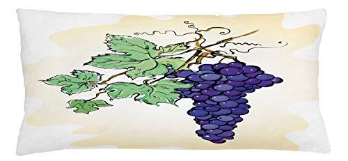 ABAKUHAUS UVA Copricuscino, Frutta Concorde con Foglie, A Prova di Macchia e Resistente all'Acqua, 90 x 40 cm, Champagne Multicolor