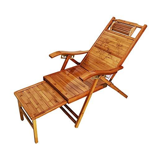 HUAYIN Silla Plegable de Madera de bambú de los reclinables de la Gravedad, Silla del Eje de balancín del Patio | Sillón reclinable, para Porche, balcón, Patio, terraza, césped
