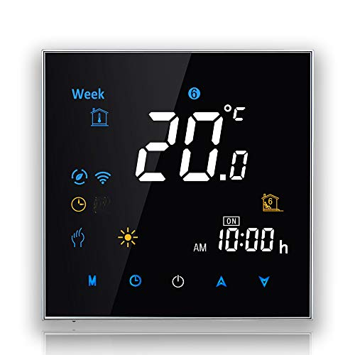 BECA 3000 Series 3/16A LCD Touch Screen Water/Electric/Boiler Heating Intelligent Programming Control Thermostat with WIFI Connection (Calentamiento de agua, Negro)