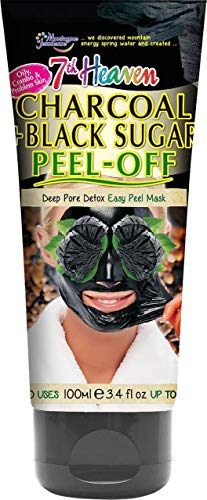 7th Heaven Charcoal and Black Sugar Easy Peel Off Mask Tube for a Deep Pore Detox - Ideal for Oily, Combination and Problem Skin, 0.2 Kg