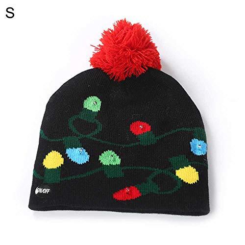 Weihnachten LED gestrickte BUPCie Mütze + Schal Set Weihnachtsbaum Schnee Blume BUPCie Leuchten warme Mütze für Kinder Erwachsene Weihnachtsfeier