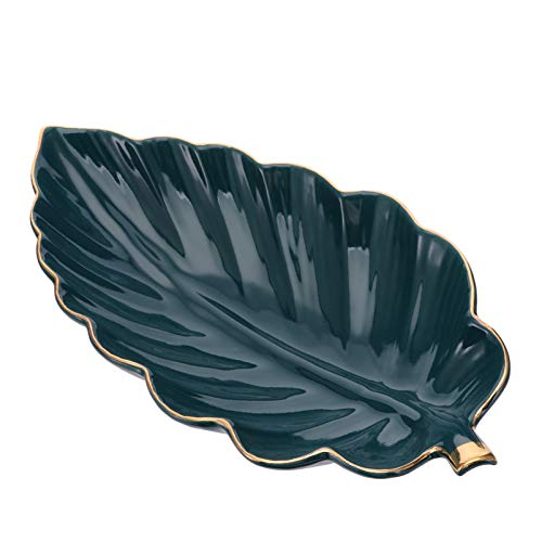 Hemoton Piatto di Gioielli in Foglia di Ceramica Piastra di Stoccaggio dei Gioielli Vassoio del Gingillo Anello di Porcellana Porta Snack Organizzatore di Gioielli per Collana d'oro