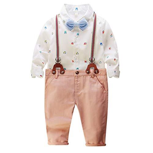 Ucoolcc Kinder Baby Jungen Bekleidungssets, Hemd + Hose + Fliege Krawatte Kinder Anzug Gentleman Festliche Hochzeit Langarm Shirt für Frühling Sommer