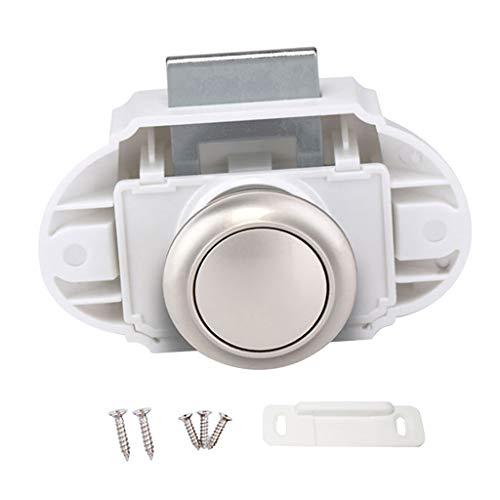 Fenteer Cerradura Plástica Del Pestillo de La Perilla Del Botón para Los Muebles Del Gabinete de La Autocaravana de La Puerta Del Cajón - 26cm blanco B