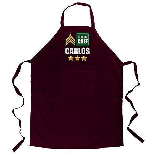 LolaPix Delantal Cocina Hombre Personalizado con Nombre. Regalos Personalizados Dia del Padre. Varios diseños. Delantal Master General Chef Granate