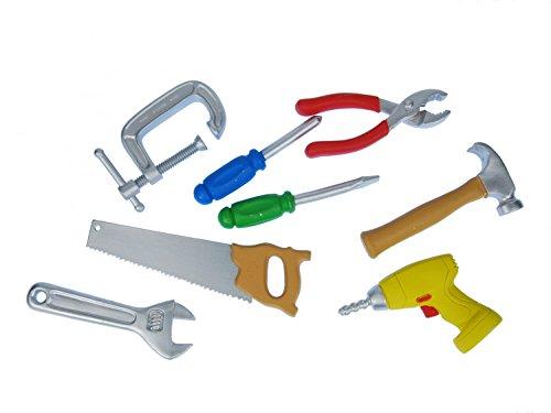 Miniblings 7X BAU Werkzeug Set Figur Werkstatt Handwerker Hammer Zange Säge