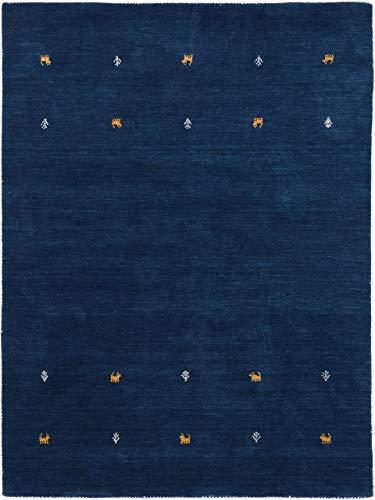 carpetfine Wollteppich Gabbeh Uni Blau 80x150 cm   Moderner Teppich für Wohn- und Schlafzimmer