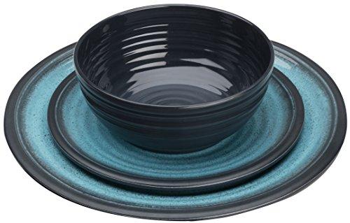 Flamefield GA0112 Granite 12 Piece Melamine Dining Set-Aqua