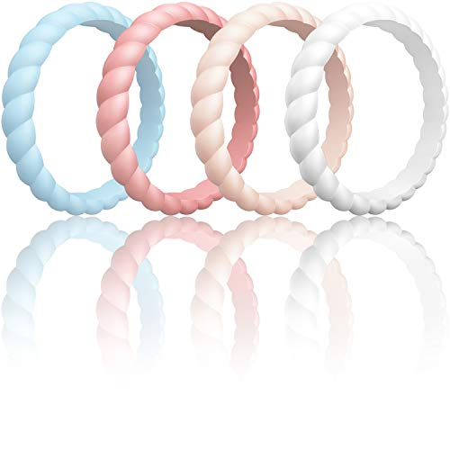 ThunderFit Womens Thin Swivel Rings, 4 Pack (Light Blue, Faint Red, Pink Sand, Rice White, 8.5-9 (18.9mm))