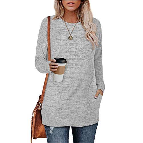 Long-Sleeved Round Neck Blouse Solid Color Pullover Casual Loose Pockets Warm Fashionable And Comfortable Sweater