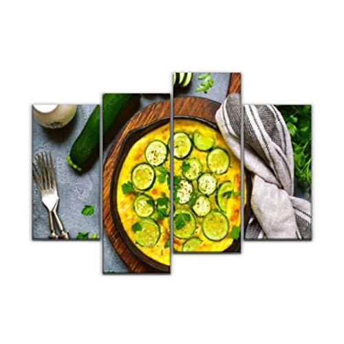 Impression sur Toile, Four cuit Omelette aux courgettes dans Une poêle en Fonte French Tableau Decoration Murale Photo Image Artistique Photographie Abstrait Art Peinture, 4 Parties