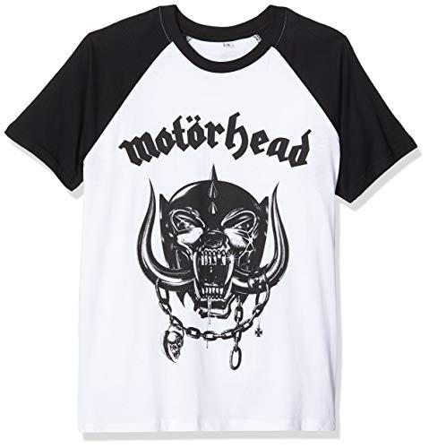 MERCHCODE Jungen Motörhead Everything Louder Raglan Tee 1012_t-Shirt Kurzarm, wht/Blk, L