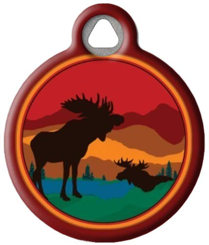 Dog Tag Art Moose on The Loose - Custom Pet ID Tag for Dogs and Cats