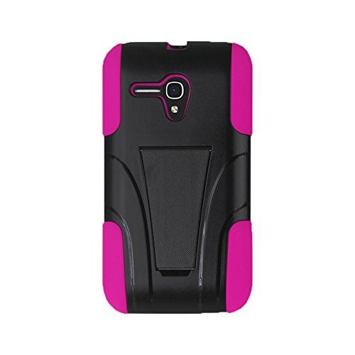 Reiko Silicon Case+Protector Kickstand Case Carrying Case for Alcatel Onetouch Pop Star 2 LTE A521L/Pop Nova LTE A520L - Retail Packaging - Hot Pink+Black