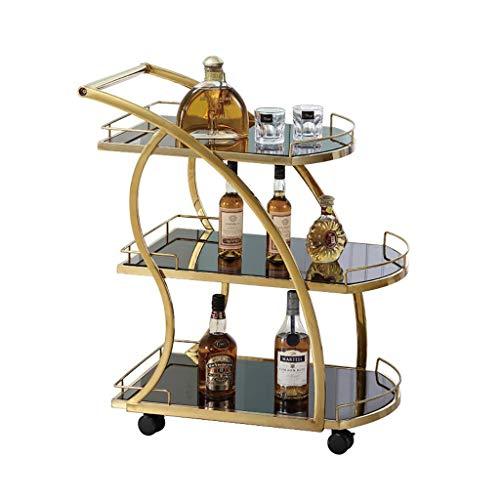 Carro de Acero Inoxidable de 3 Capas Vino móvil del Carro de la Compra de Oro Comedor Mobile Shopping Car Service Cesta 4S Tienda de Aperitivos Carrito de la Compra de té (