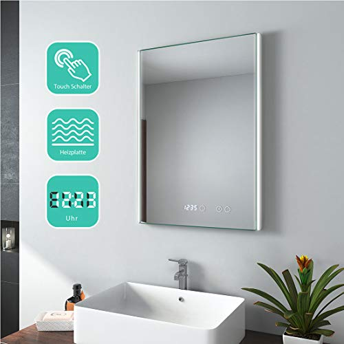 EMKE Badspiegel mit Beleuchtung 50x70cm LED Badezimmerspiegel Wandspiegel Lichtspiegel mit Touch-Schalter, Digitaluhr, Anti-Beschlag