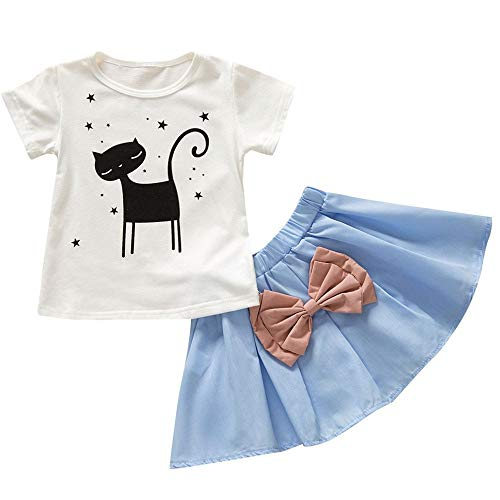 AIKSSOO baby meisjes zomer kleding sets, kinderen meisjes leuke kat T-tops Cheap + baby meisjes rok met boog