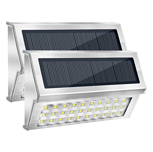 Onshida Solarleuchte für Außen, 30 LED Garten Wegeleuchte Wandleuchten mit Lichtsensor, Wasserdichte Kabellose Sicherheitslicht Solarlampe für Treppe, Zaun, Dachrinnen, Balkon, Terrasse (2er set)