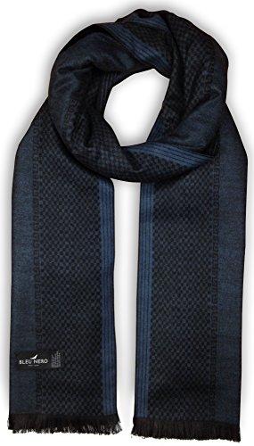 Bleu Nero Luxurious Winter Scarf for Men and Women – Large Selection of Unique Design Scarves – Super Soft Premium Cashmere Feel Blue Black Vertical