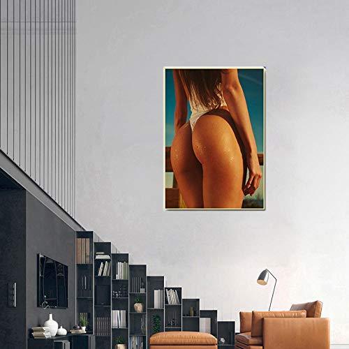 WKAQM Sexy Big Butt Poster Prints Sexy Bikini Women Canvas Wall Art Sexy Hot Girl Big Ass Wall Painting Bar Cafe Bedroom Picture Wall Art Decor Sin Marco Z-5413