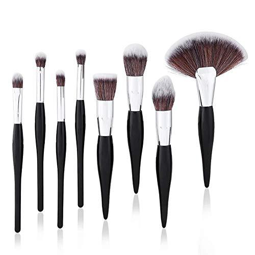 Professionnel Maquillage Pinceaux-8pcs Kit de pinceau de maquillage en argent noir poudre base correcteur de fard à paupières cosmétique Brush Set Poignées