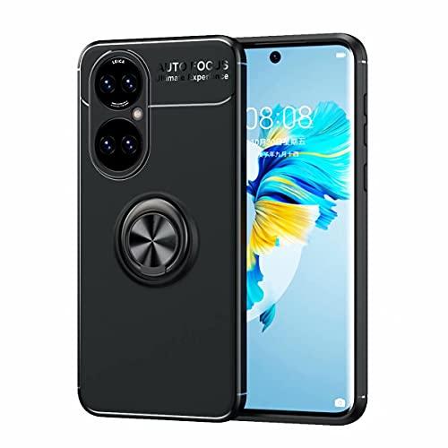 YIKLA Funda para Huawei P50, Suave TPU Silicona Carcasa, 360° Ring Magnético Bracket Case, Armor Bumper Antigolpes Case Cover, Negro