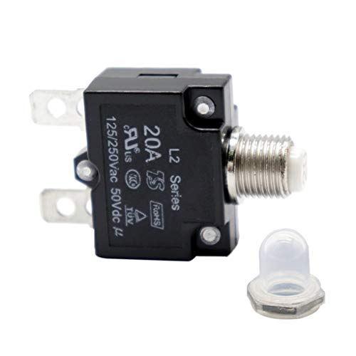 2Pcs 15A + 20A Schutzschalter Thermischer Überlastschutzschalter + Wasserdichte Kappe, AC125V/250V