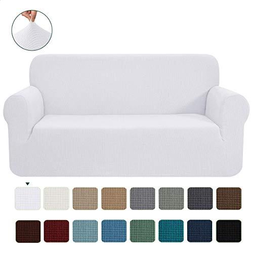 CHUN YI 1-Stück Jacquard Sofaüberwurf, Sofaüberzug, Sofahusse, Sofabezug für Sofa, Couch, Sessel, mehrere Farben (Weiß, 3-sitzer)