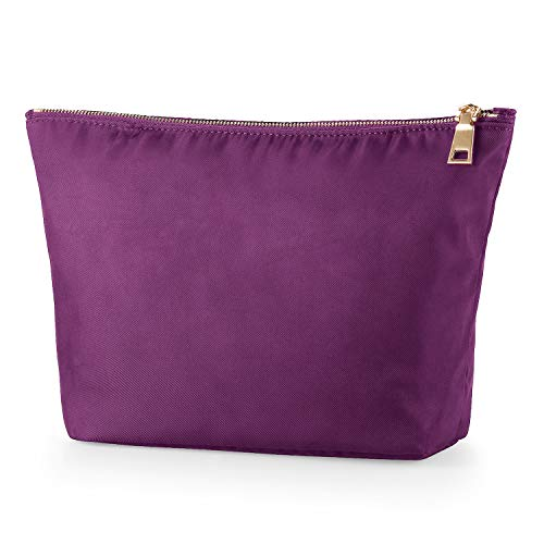 Cosmetic Bag FOREGOER Makeup bags for women,Large makeup pouch Travel bags for toiletries waterproof Dark Purple Blue Safflower