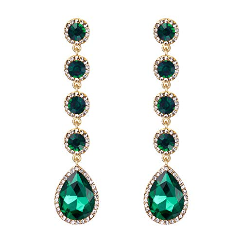 BriLove Wedding Bridal Dangle Earrings for Women Elegant Crystal Teardrop Chandelier Earrings Emerald Color Gold-Toned