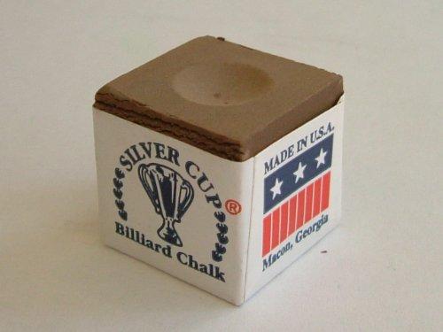 Silver Cup Marque Billard Craie, Boîte de 12, Couleur Marron