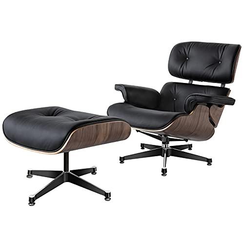Poltrona reclinabile in vera pelle, ergonomica, inclinabile a 15°, con poggiapiedi, per camera da letto, soggiorno, convertibile Lazy Sleeper, per balcone e ufficio, nero