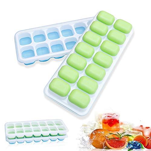 Lot de 2 bacs à glaçons en silicone avec couvercles, sans BPA, empilables et durables, passent au lave-vaisselle